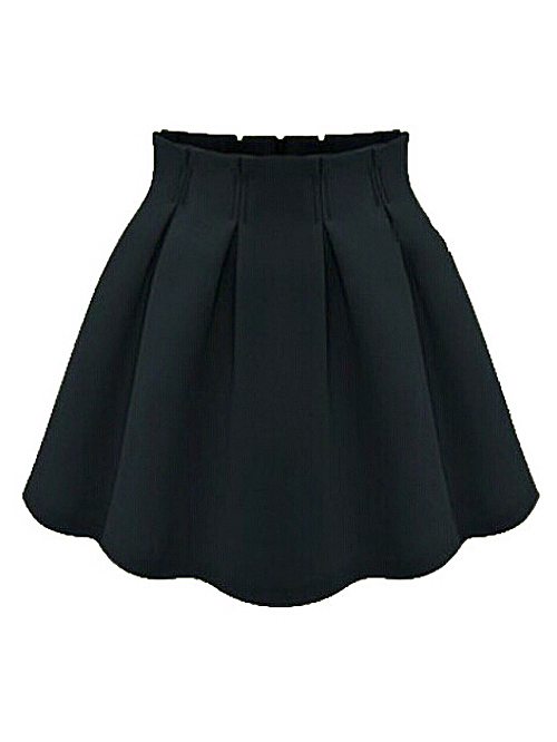 Solid color street style black ruffled skirt with back zip