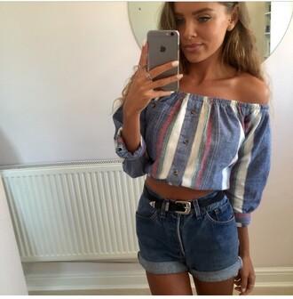 top vintage vintage soul stripes short shorts cut offs off the shoulder top button up