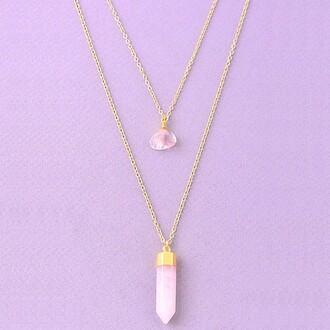 jewels jewel cult crystal quartz jewelry necklace layered layered necklace stone necklaces quartz gemstone gemstone pendant boho boho chic bohemian boho jewelry