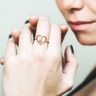 jewels fashion jewelry accessories fashion jewelry 3d printed ring ring rose gold brass peace sign love peace and love