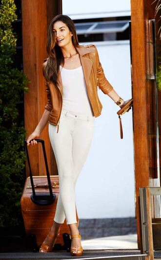 jacket leather jacket sandals clutch lily aldridge shoes bag