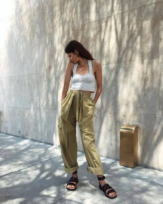 bag tumblr pants khaki khaki pants baggy pants top crop tops blue top sandals flat sandals shoes