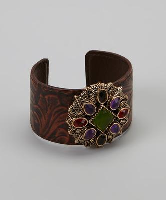 Purple & Red Bronze Leather Cuff - Elegant Treats