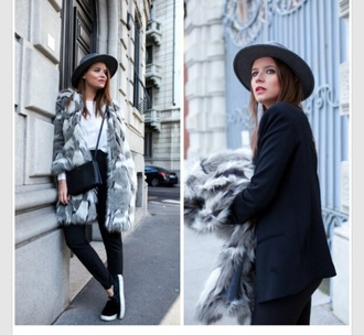 coat grey black faux fur jacket white