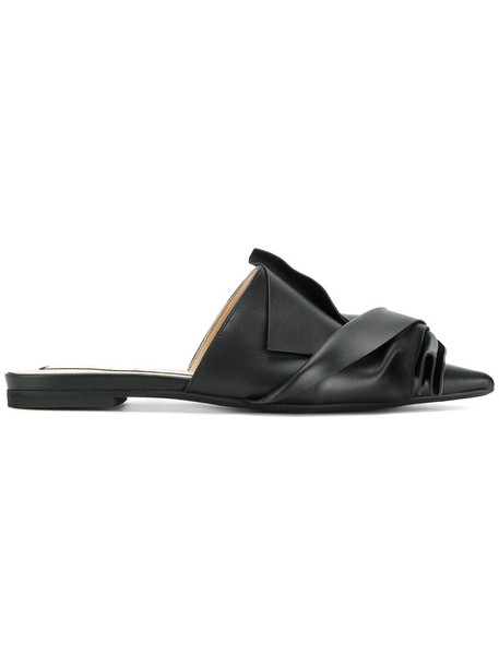 No21 bow women mules leather black shoes