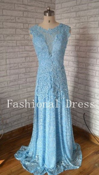 dress elegant dress light blue lace dress prom dress prom gown