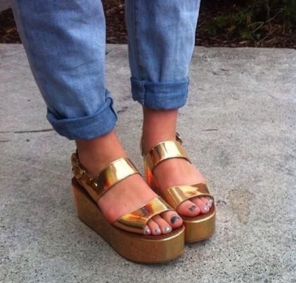 shoes sandals flatform sandals gold