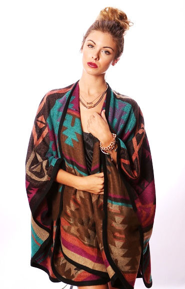 Teal brown rust multicolor aztec knit tribal oversized poncho scarf cardigan