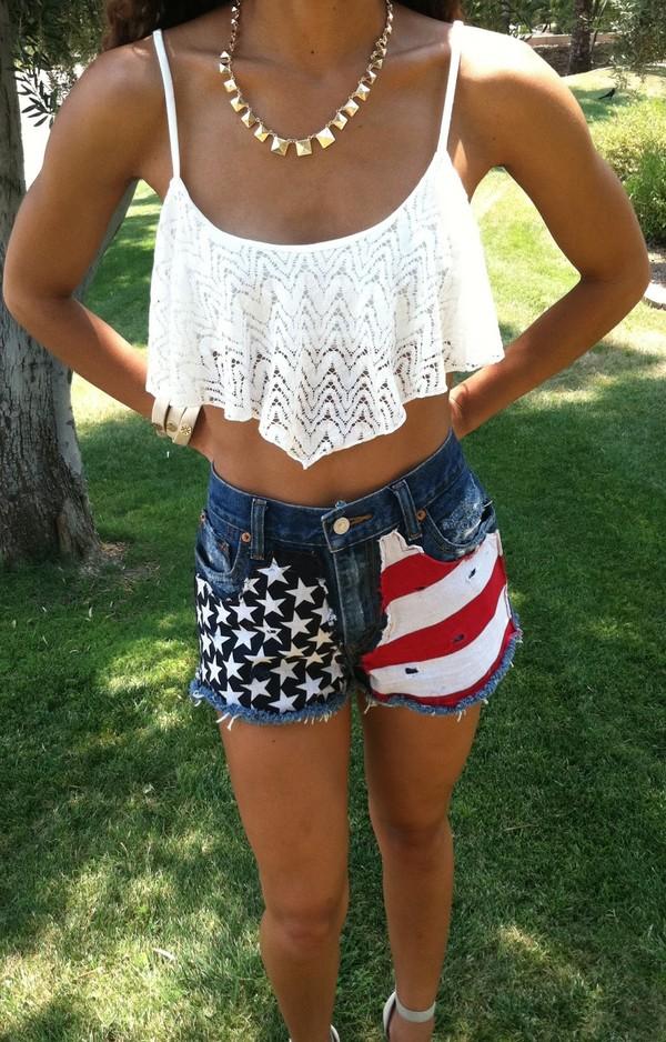 shirt crochet crop tops lace july 4th shorts