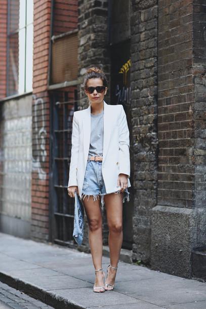 collage vintage jacket t-shirt shorts bag shoes belt blazer white white jacket denim style