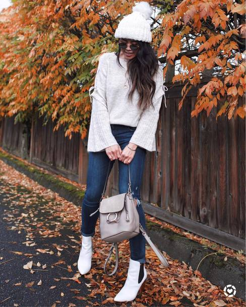 shoes tumblr boots white boots ankle boots beanie pom pom beanie denim jeans blue jeans sweater bell sleeves bell sleeve sweater white sweater
