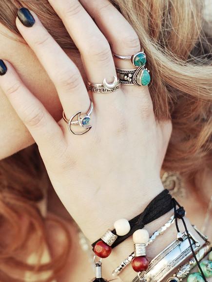 jewels bracelets gypsy blue boho moon gemstone ring