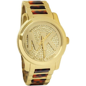 Michael Kors Runway Round Tortoise and Gold Glitz MK5864 Watch - Sale