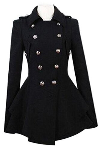 coat jacket girly cute fashion style black fall outfits buttons long sleeves