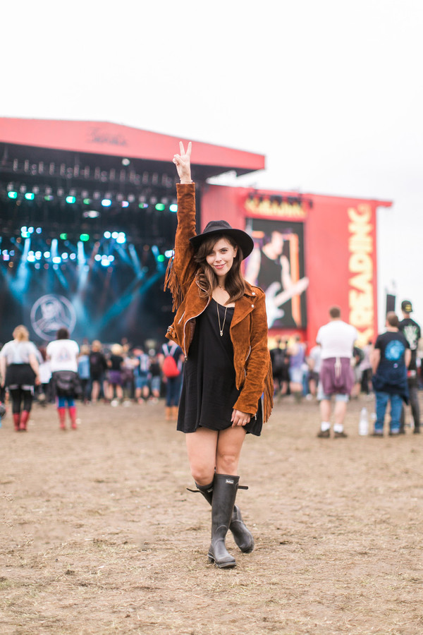wish wish wish blogger dress jacket hat festival fringed jacket wellies hunter boots boho jacket suede jacket fringes mini dress black dress black hat boots