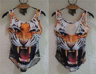 swimwear tiger head top swearmwear one picese bikini