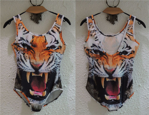 swimwear tiger head top swearmwear one picese bikini