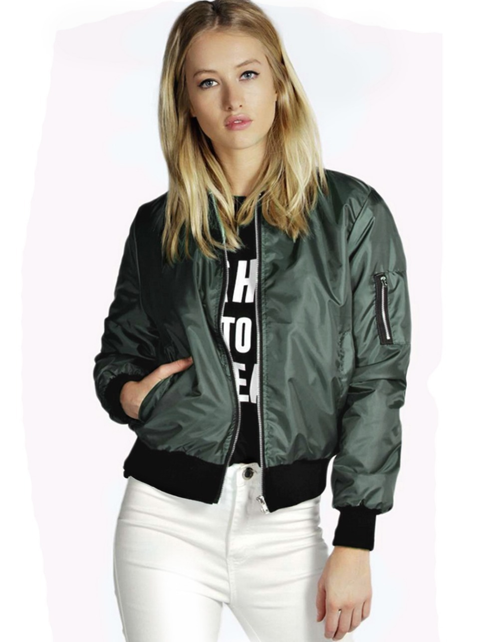 Short Jacket Solid Stand Collar Elastic Cuff Waist Bomber Jacket ...