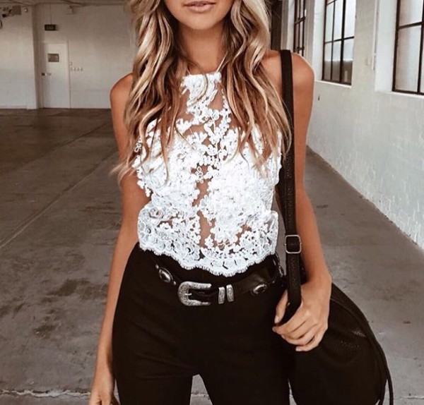 blouse white lace see through white straps cute white lace top