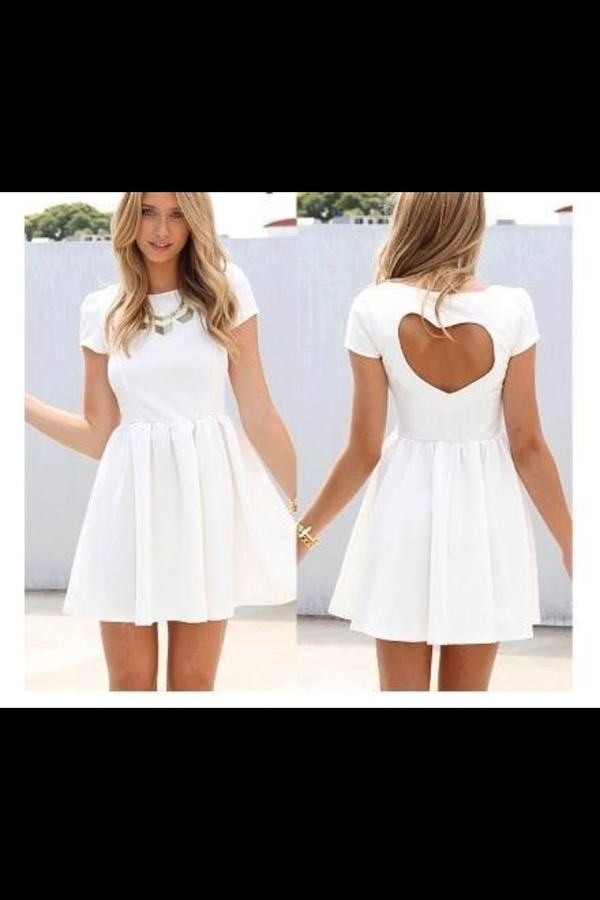 dress white dress white cute dress heart shaped