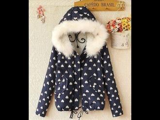 jacket white winter outfits blue dark blue heart