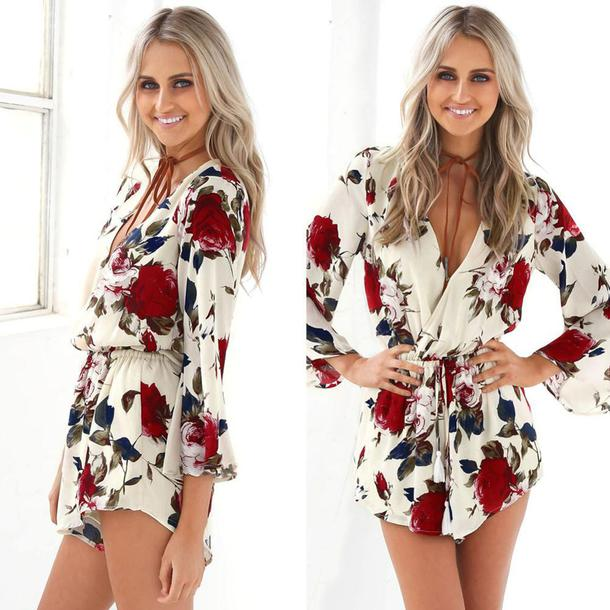 d7a8ca2756ae romper floral white floral white roses print roses long sleeves long sleeve  romper long sleeve jumpsuit