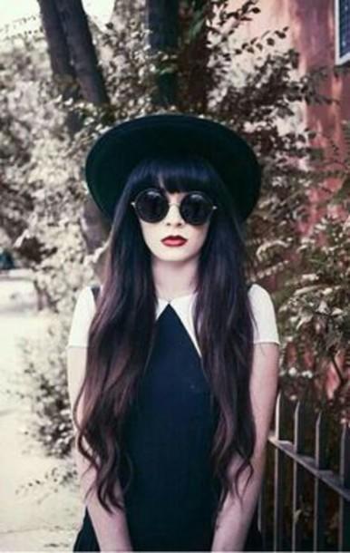 dress black dress collared dress sunglasses