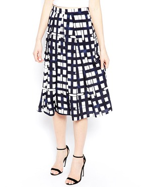 ASOS | ASOS Midi Skirt In Check Print at ASOS