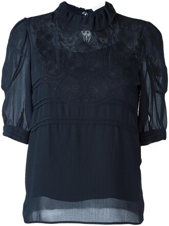 blouse embroidered women floral blue top