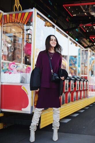 shoes purple top purple skirt top jacket boots white boots bag