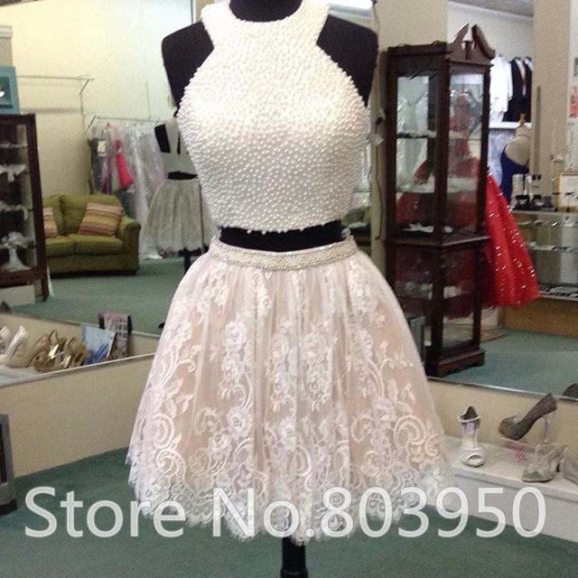 Aliexpress.com : Buy Two Piece Homecoming Dress Crop Top Mini Lace ...