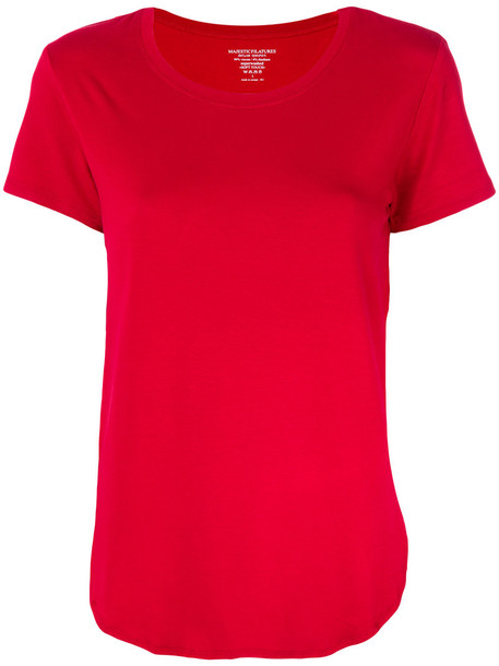 Majestic Filatures - curved hem T-shirt - women - Spandex/Elastane/Viscose - 3, Red, Spandex/Elastane/Viscose