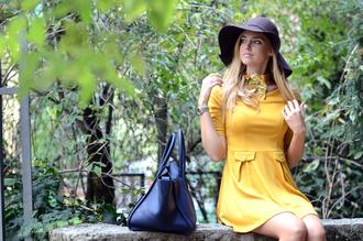 yellow dress black hat black bag dress mustard dress mini dress three-quarter sleeves hat floppy hat blogger top blogger lifestyle chiara ferragni the blonde salad scarf bag spring outfits