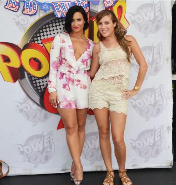 Romper top summer outfits platform sandals demi lovato plunge v neck floral shorts shoes ...