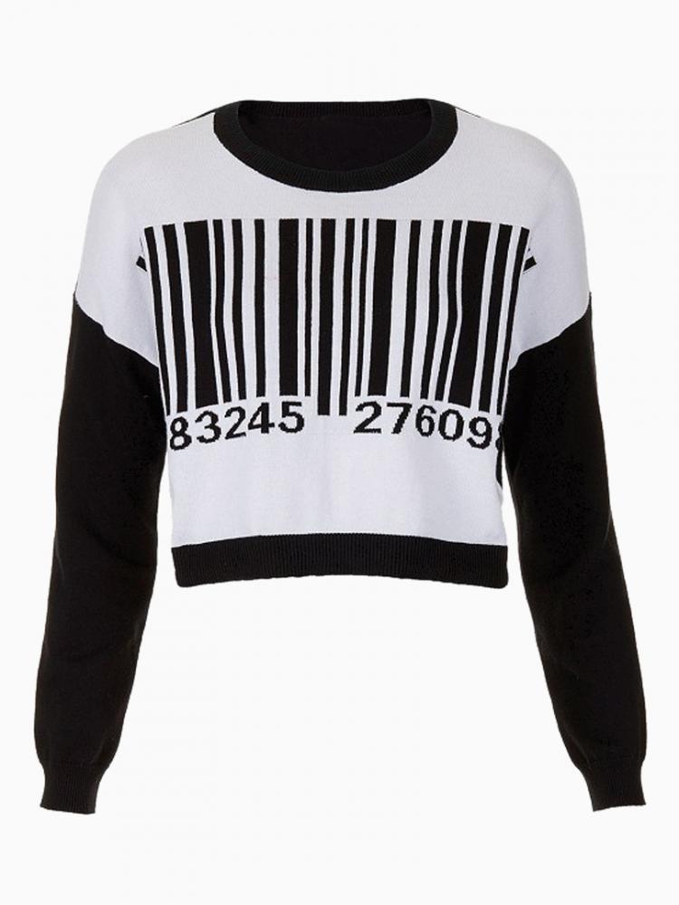 Barcode printed Sweatshirt | Choies