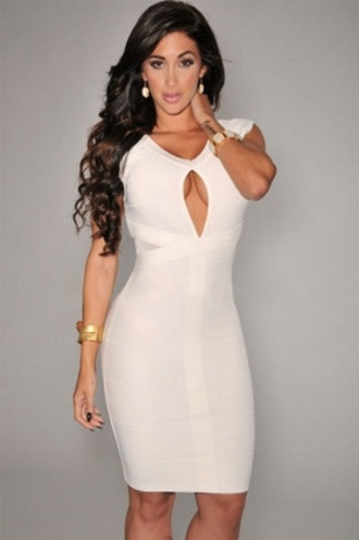 dress wots-hot-right-now bandage dress white white dress waterdrop slit dress cleavage dress sexy sexy dress white sexy dress party dress evening dress cocktail dress