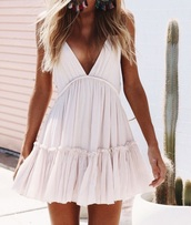 dress,summer,white,cream,flow,cute,holidays