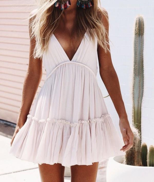 dress summer white cream flow cute holidays