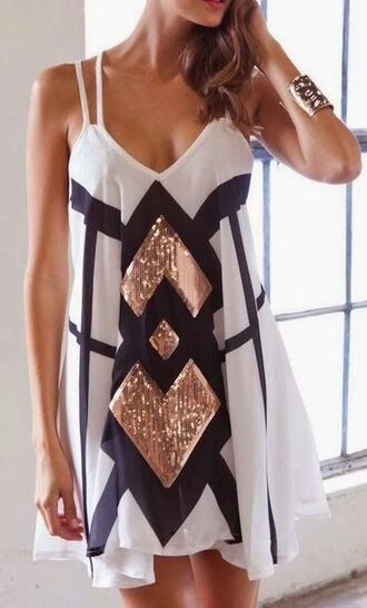 sparkle dress black gold white dress sequin dress new year's eve spagetti staps dresses