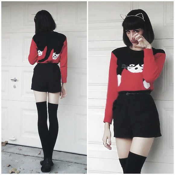 black shorts cat sweater cats halloween costume halloween