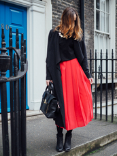 a cup of style,blogger,jewels,black coat,black top,red skirt,black bag,black boots,winter outfits,fall outfits