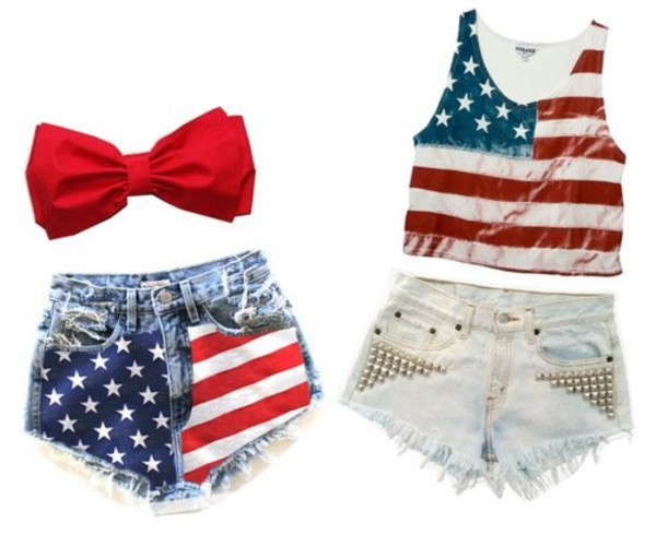 shirt shorts bandeau High waisted shorts red white blue jeans shorts high wasted bow bandeau bows american flag shorts american apparel