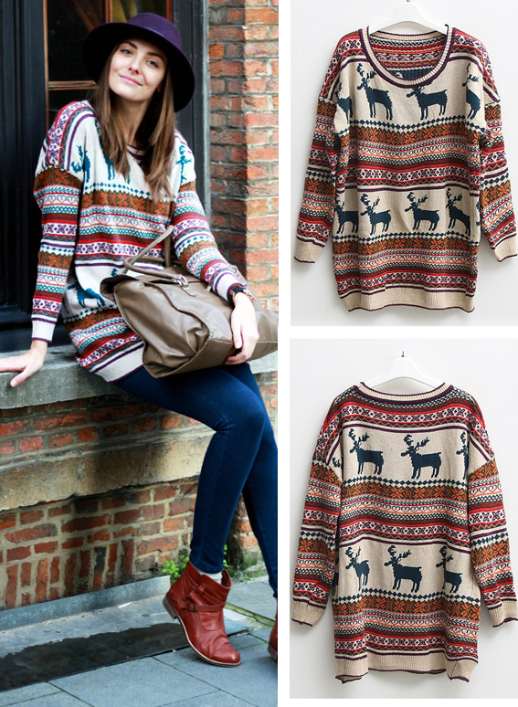 Nordic deer & stripes print