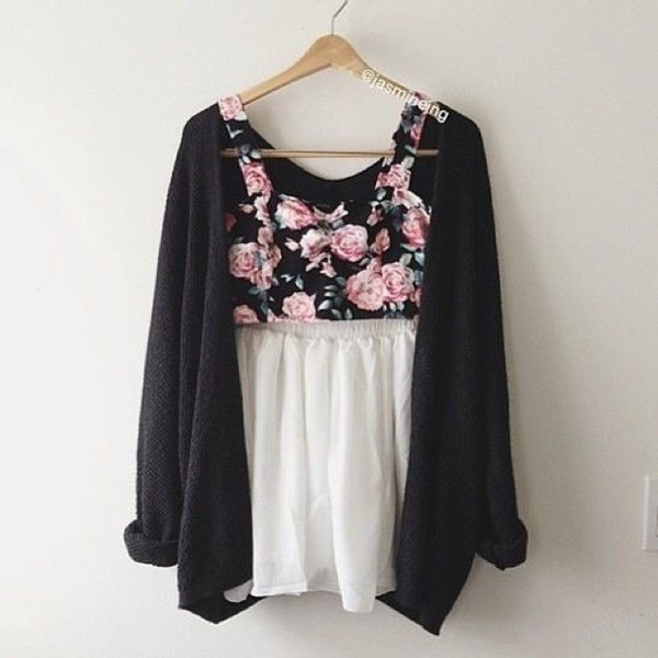 tank top bralette floral cardigan black pink white skater skirt skirt tumblr tumblr jacket