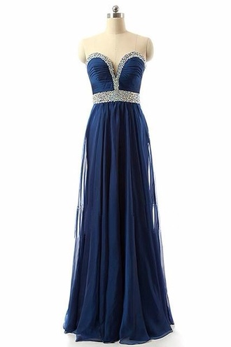 dress blue dress blue long dress long prom dress style silver pearl prom dress prom