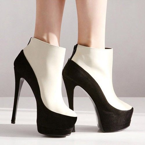 Womens Platform Pump Peep Toe Stiletto High Heels Ankle Boots Shoes Beige Black | eBay