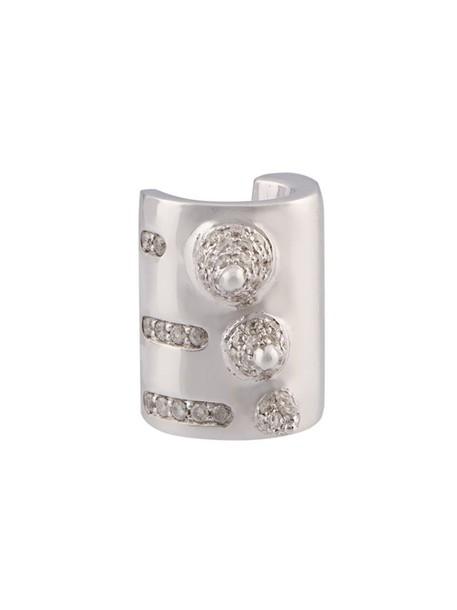 women grey metallic jewels