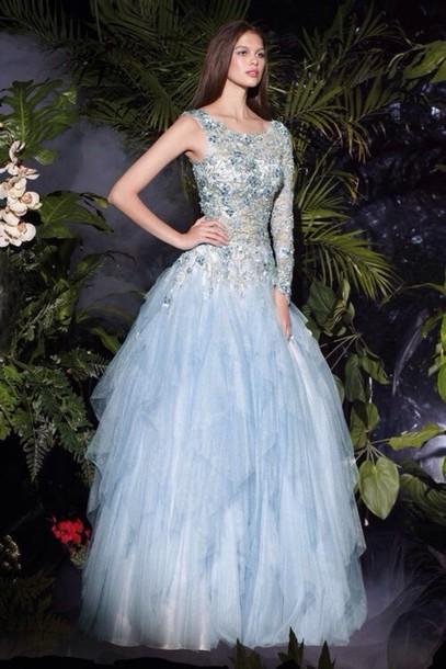 dress blue prom dress jewels sparkle long dress