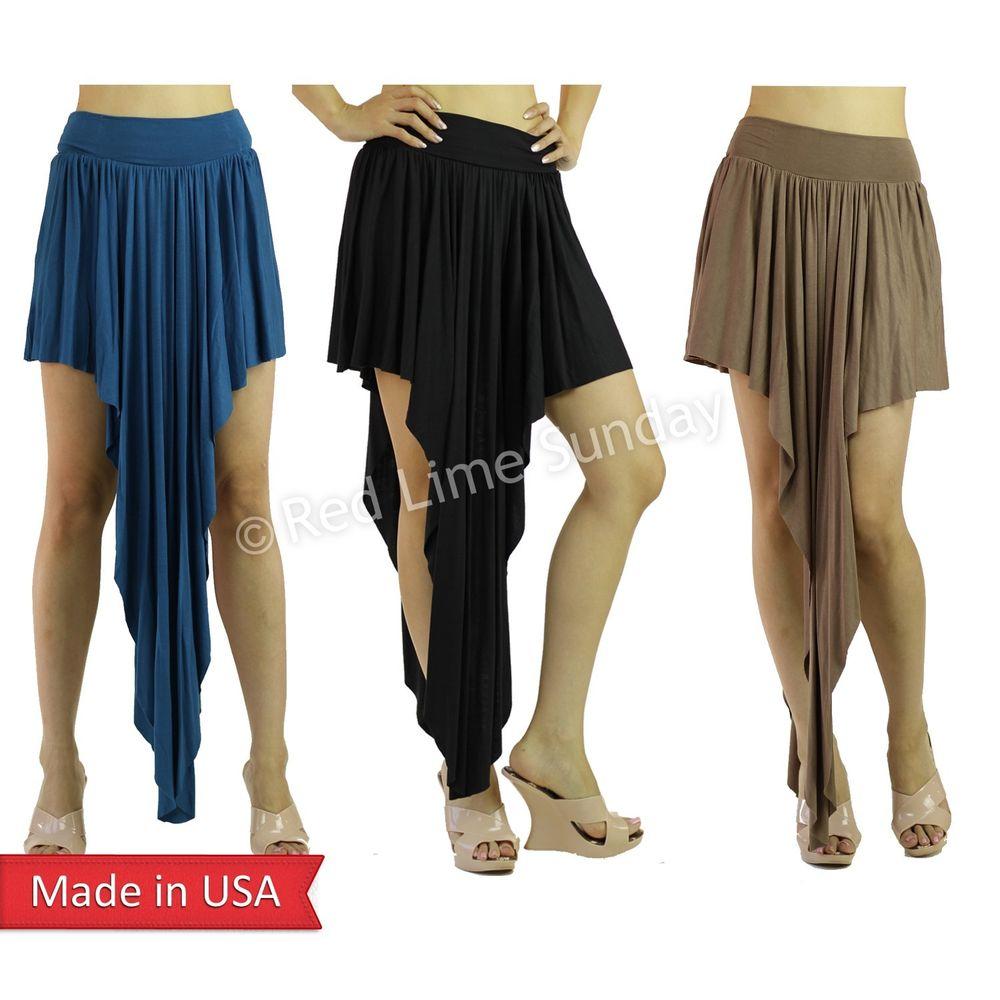 Women Asymmetrical Hem High Low Color Long Short Maxi Mini Skirt ...