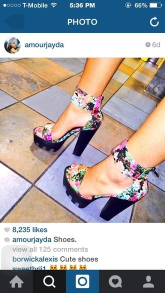 shoes black gi high heels swag floral dress floral tank top floral shoes fashion dope clean eating black dress